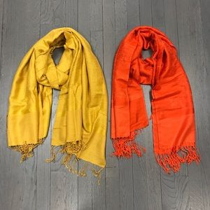 Accessories - Women's Yellow Orange Pashmina Fringe Scarf